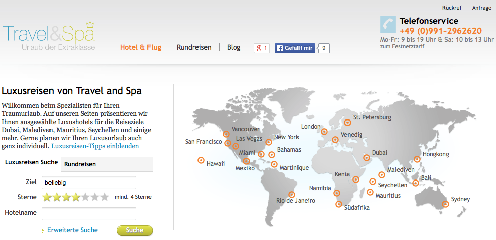 Travel & Spa Webseite
